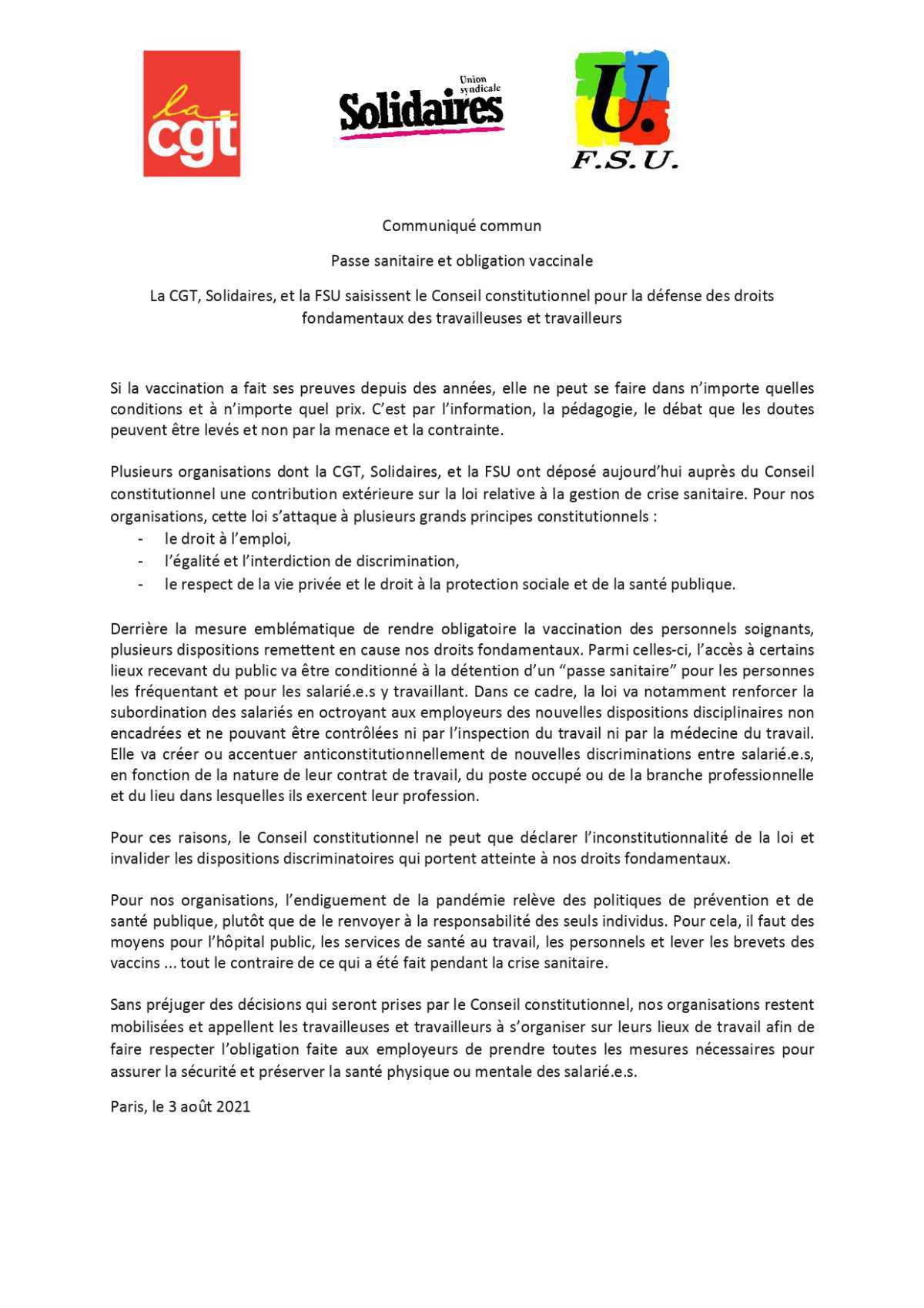 Passe sanitaire et obligation vaccinale : Solidaires, la CGT et la FSU saisissent le Conseil constitutionnel pour la défense des droits fondamentaux des travailleuses et travailleurs