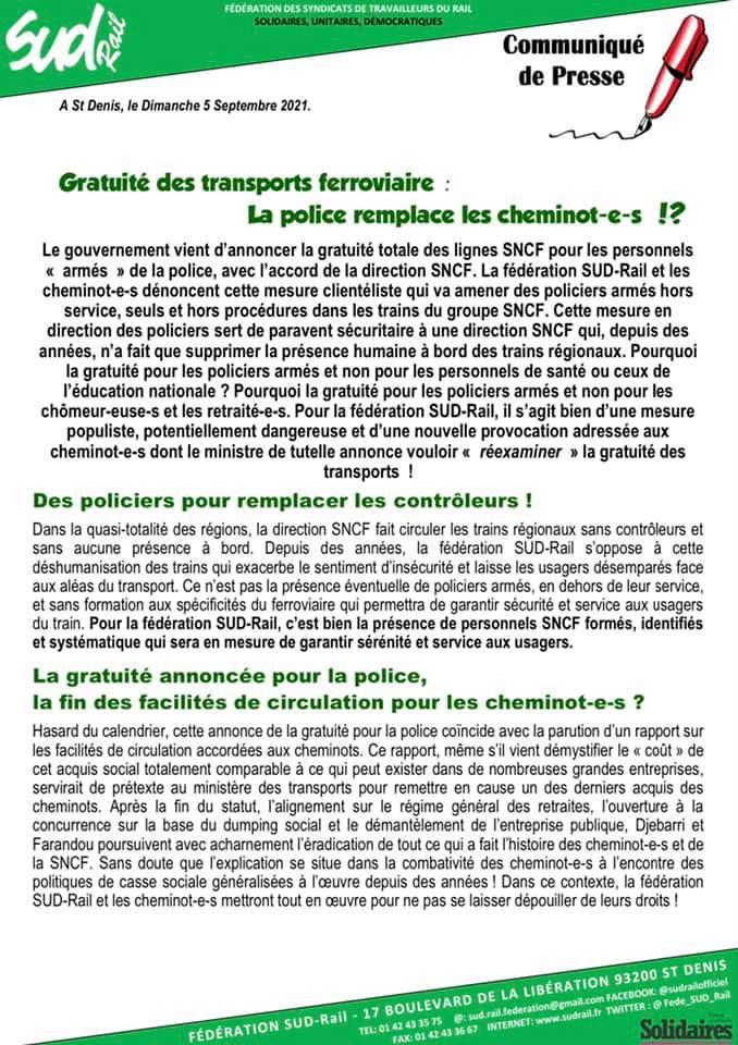 Gratuité des transports ferroviaire : La police remplace les cheminot-e-s !?