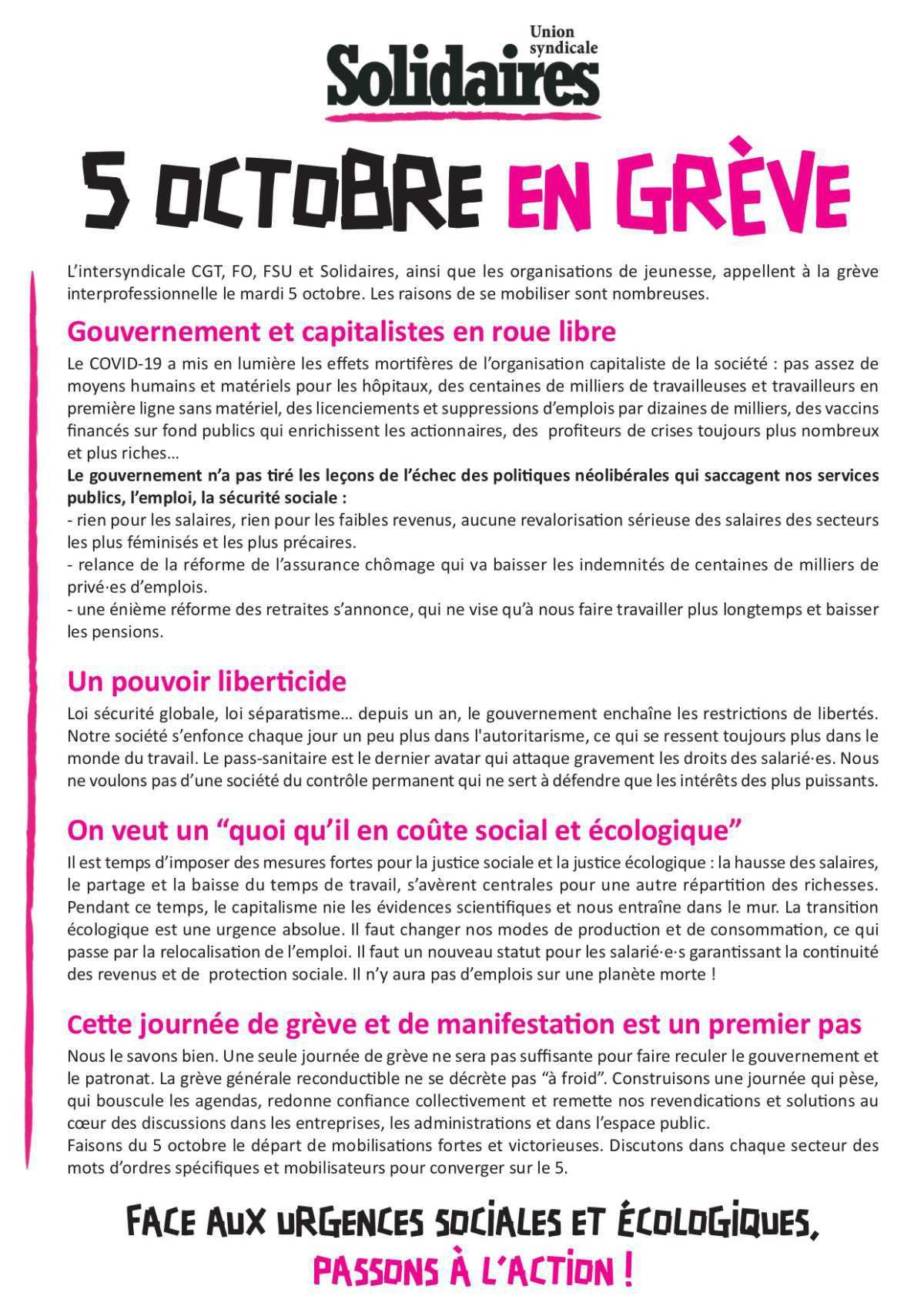 Le 5 Octobre, en grève !!