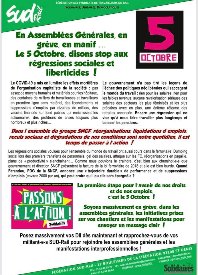 Le 5 Octobre, disons stop aux régressions sociales et liberticides !