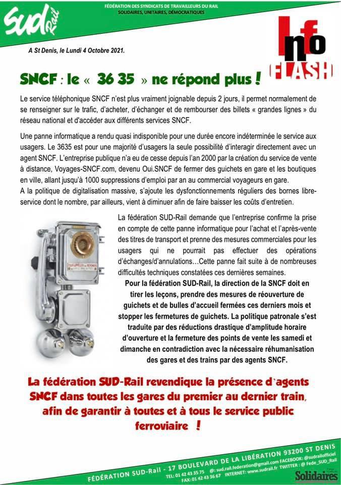 """SNCF : Le """"36 35"""" ne répond plus !"""