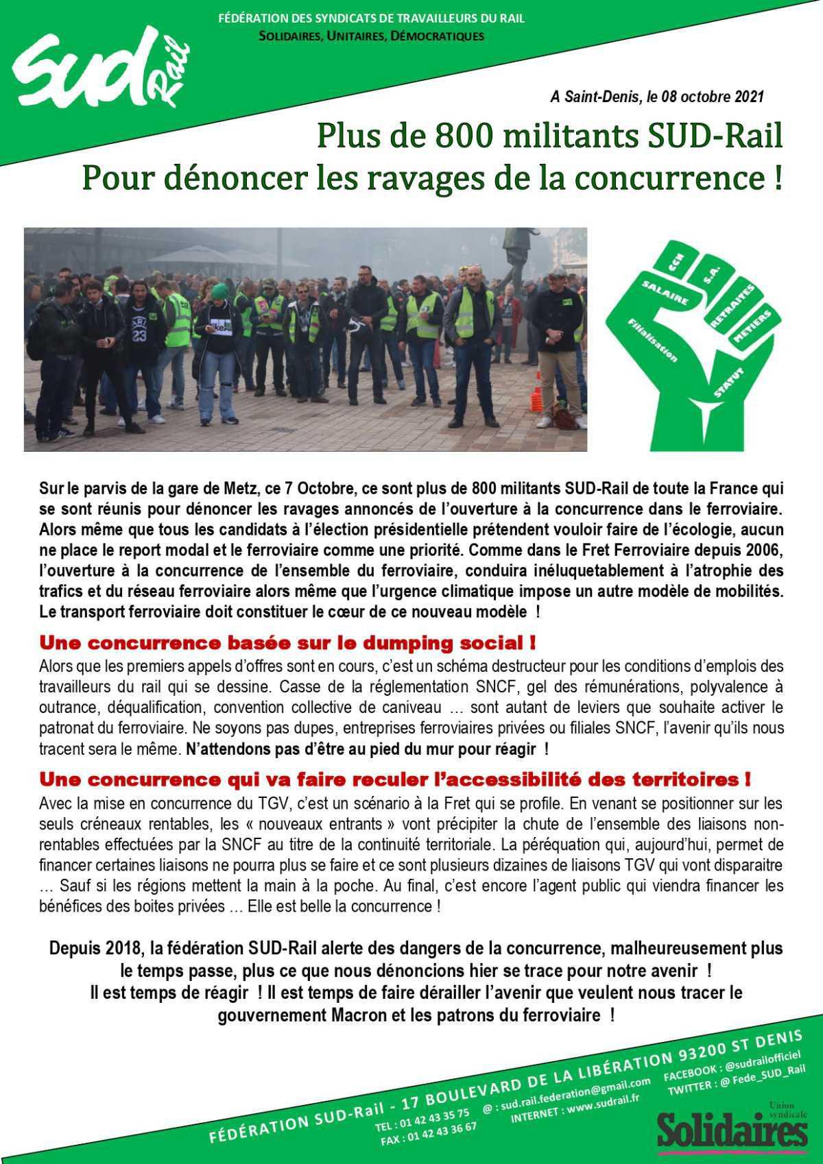Plus de 800 militants SUD-Rail pour dénoncer les ravages de la concurrence !