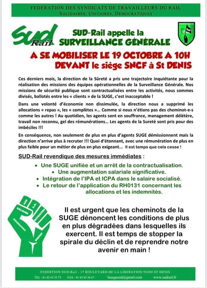 SUGE - Mobilisation générale le 19 0ctobre
