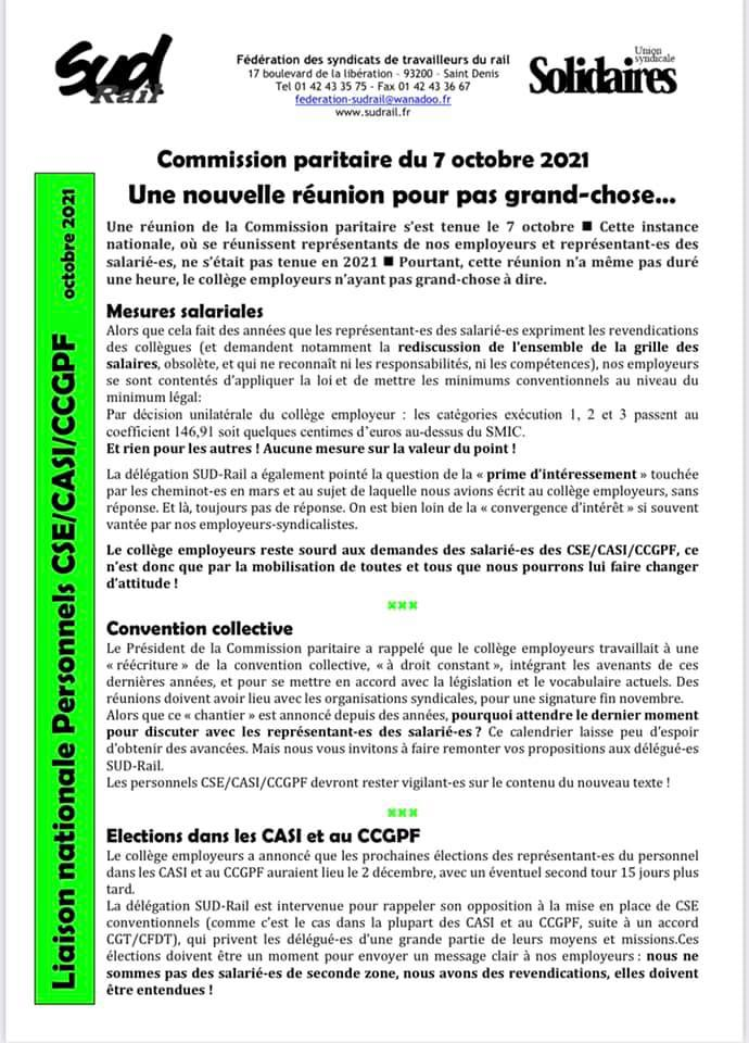 CSE/CASI/CCGPF - Une nouvelle réunion pour pas grand-chose...
