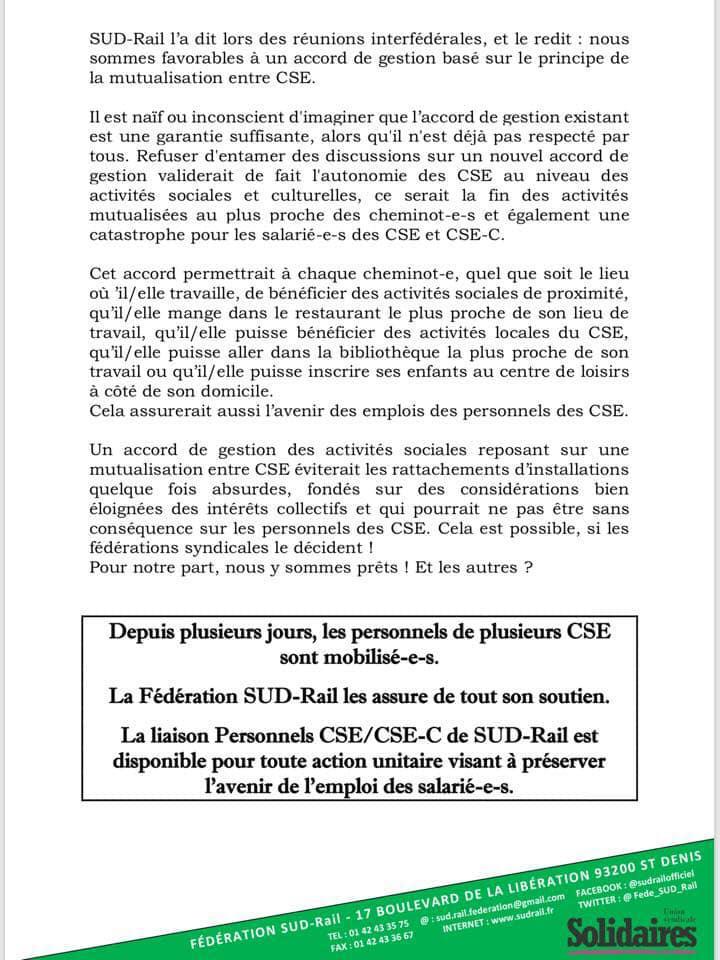 Position De Sud Rail Sur La Mise En Place Des Cse Notamment