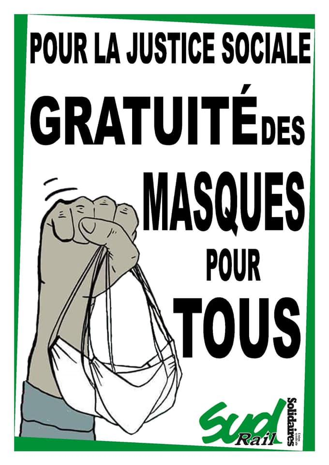 Pour la justice sociale. Gratuité des masques pour TOUS