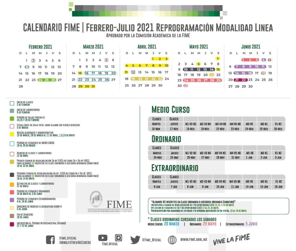 Calendario Febrero-Junio 2021
