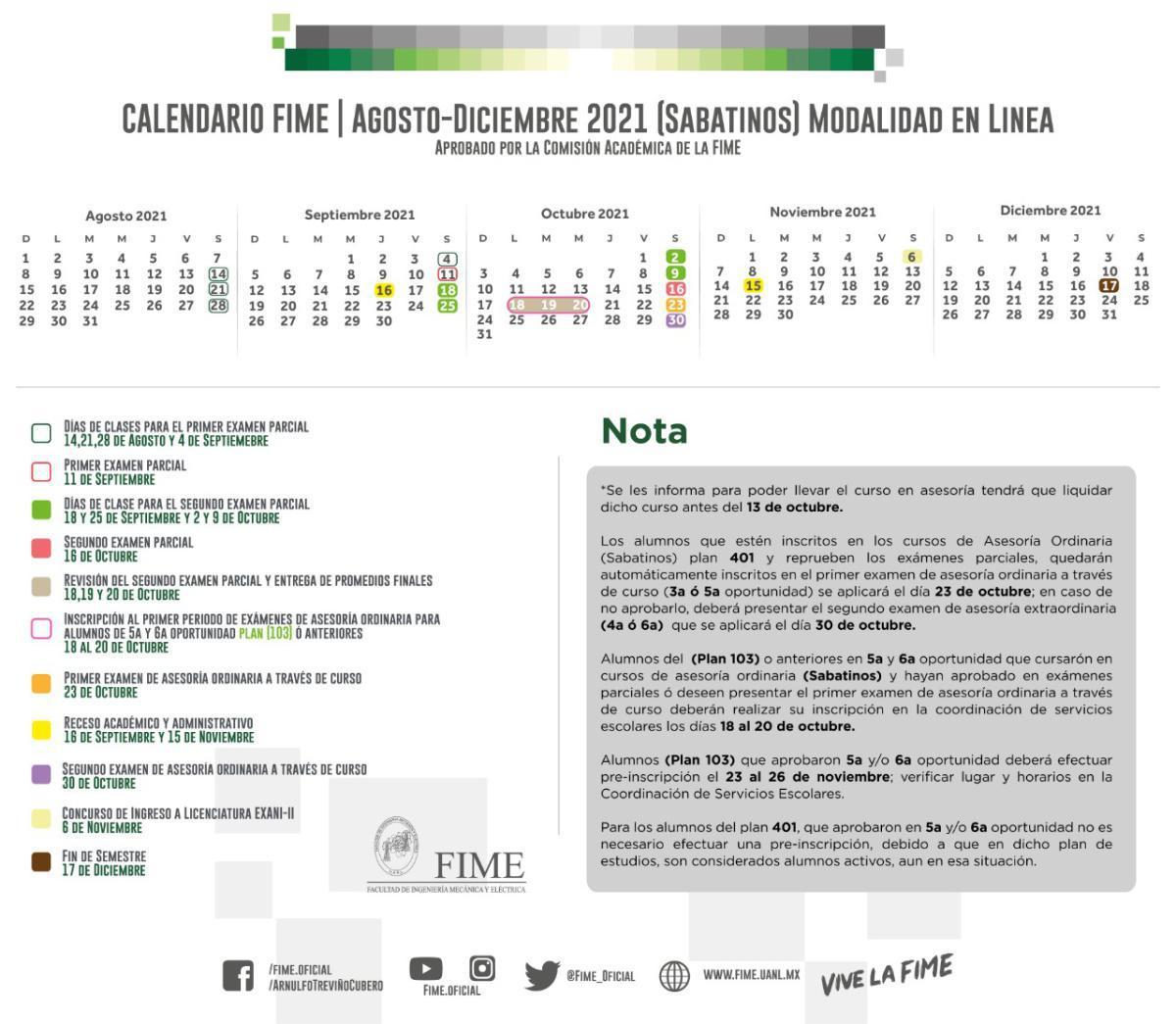 Calendario Agosto-Diciembre 2021