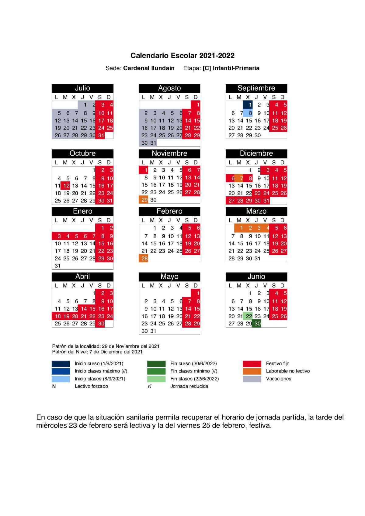 Calendario 2021/22