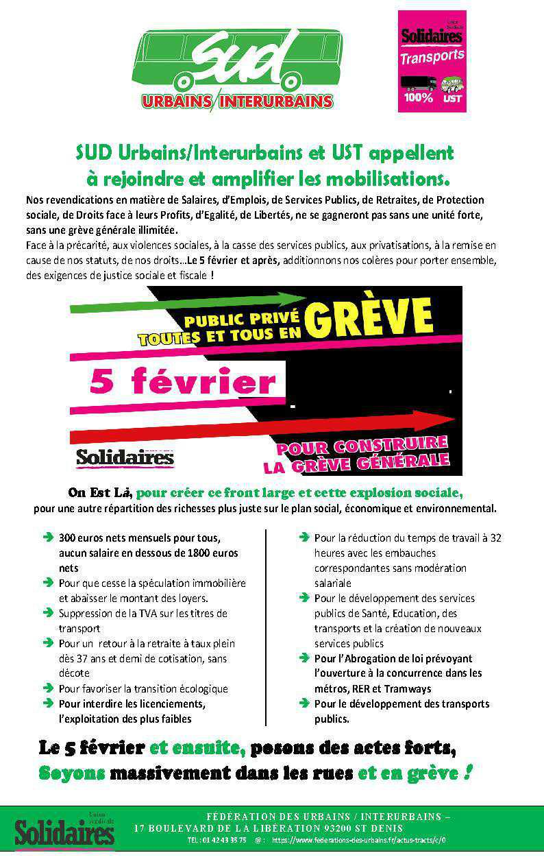 Tract appel le 5 février UST urbains interurbains