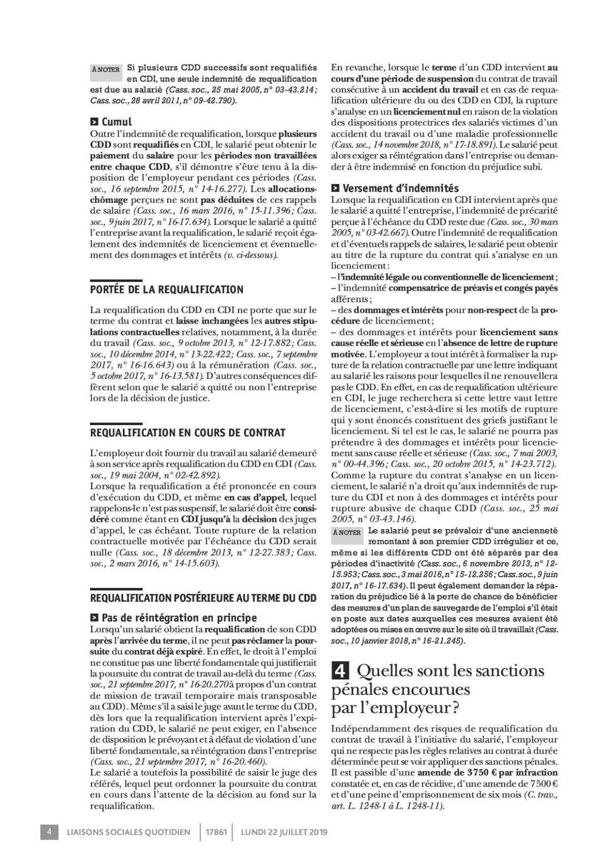 Requalification du CDD en CDI
