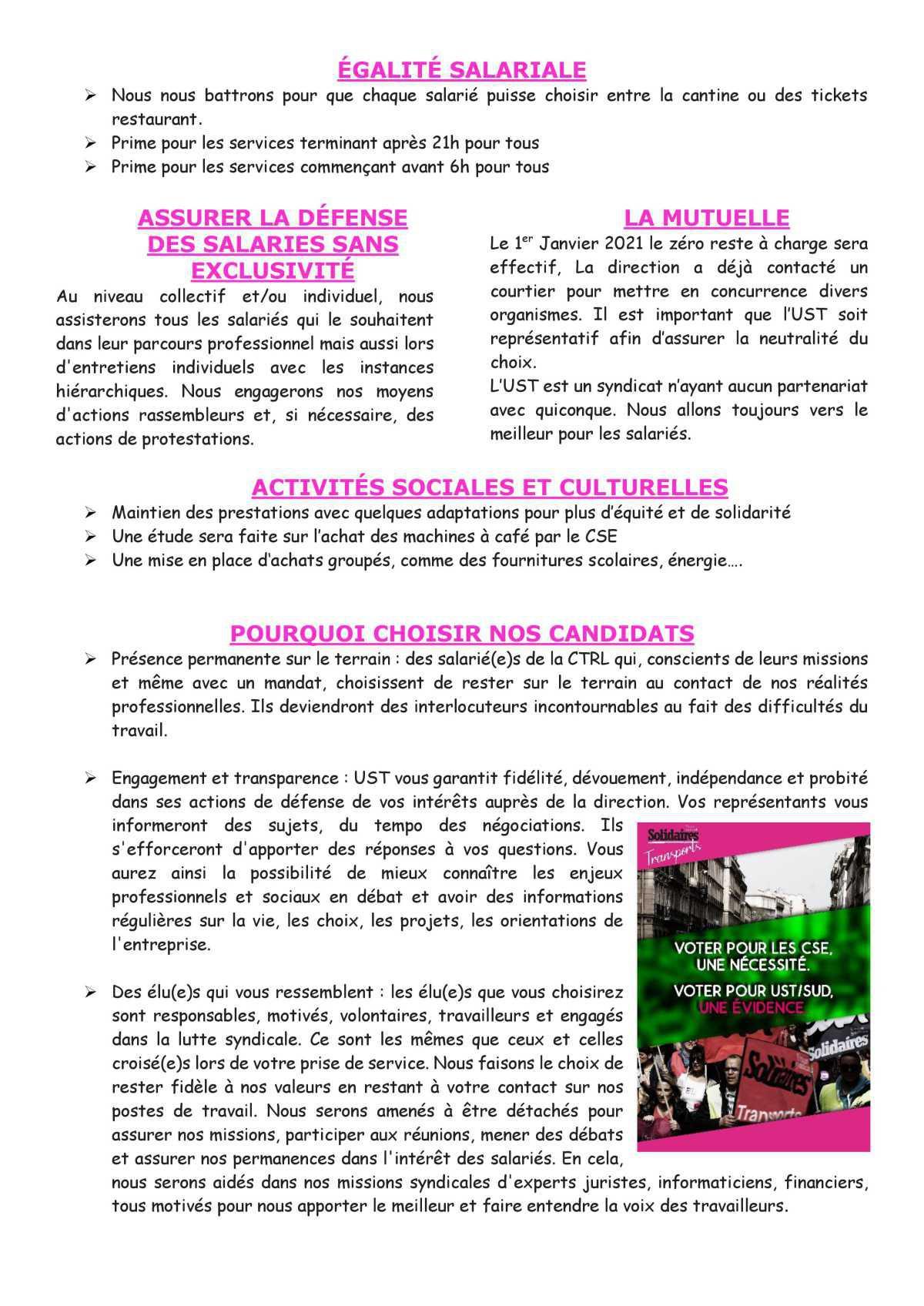 ELECTIONS DE VOS REPRESENTANTS CSE CHEZ CTRL PROFESSION DE FOI