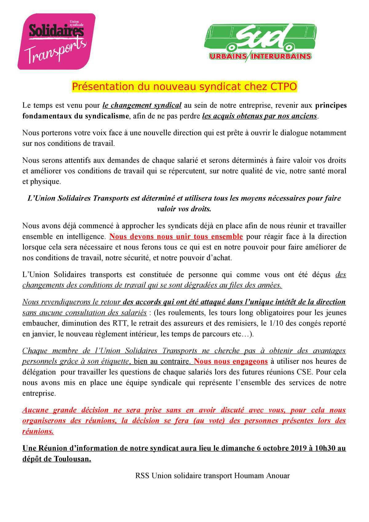 Présentation du nouveau syndicat chez CTPO
