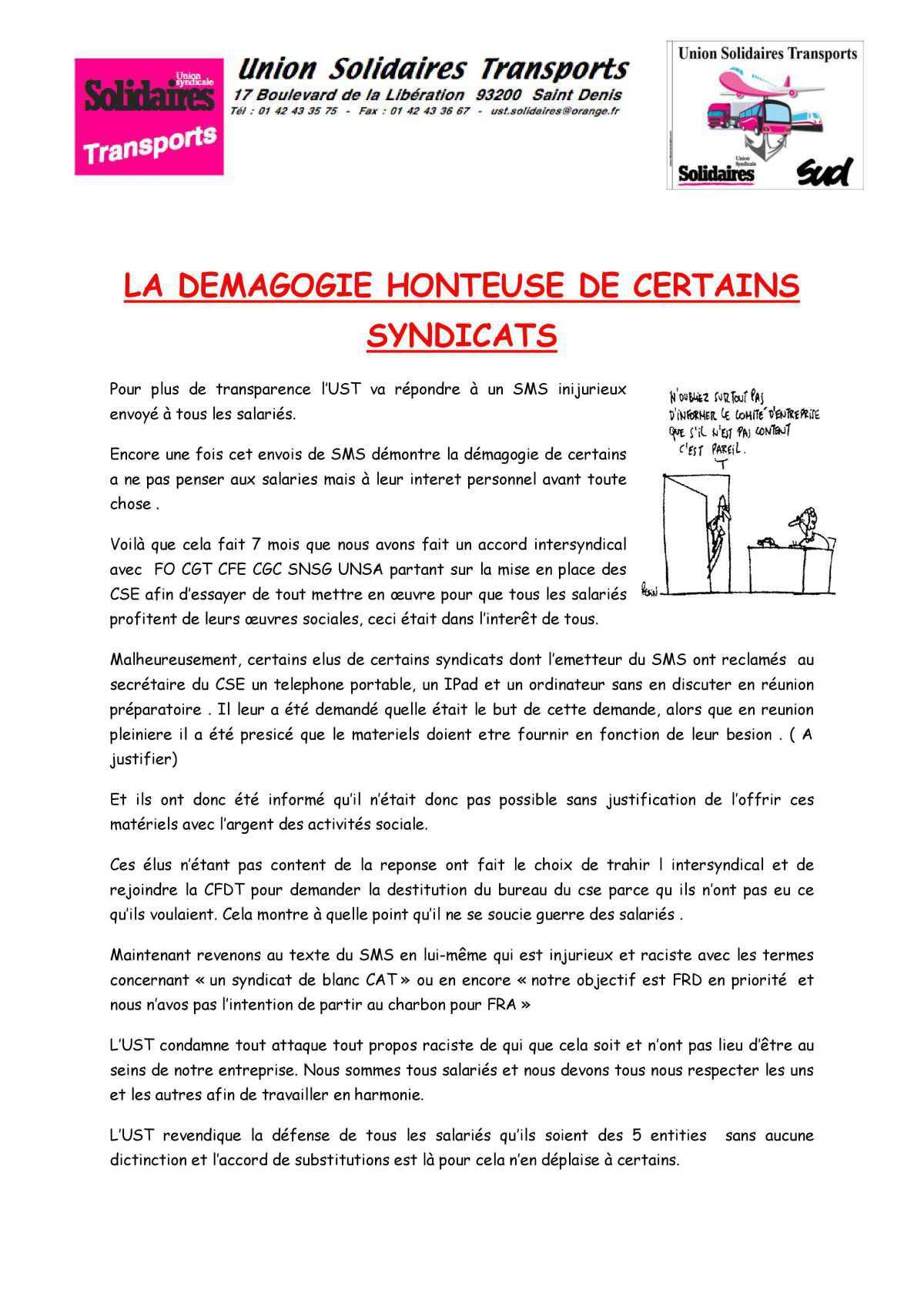 LA DEMAGOGIE HONTEUSE DE CERTAINS SYNDICATS