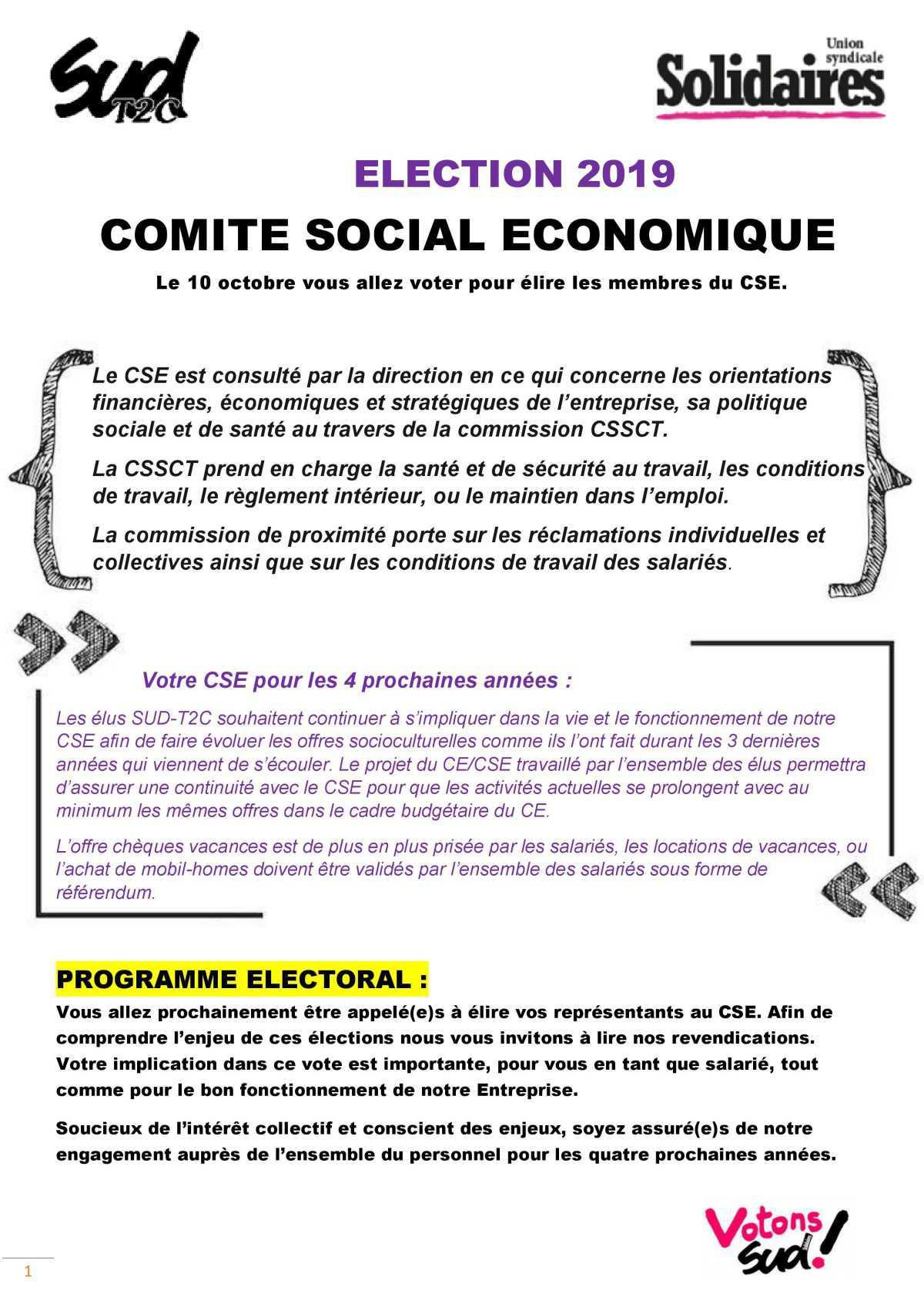 ELECTION 2019 COMITE SOCIAL ECONOMIQUE Le 10 octobre vous allez voter pour élire les membres du CSE