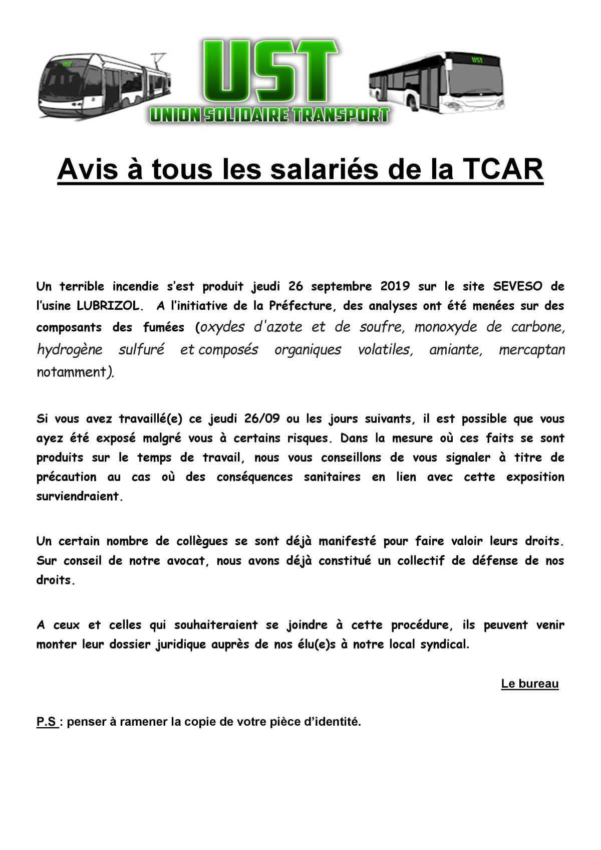 Avis à tous les salariés de la TCAR ROUEN