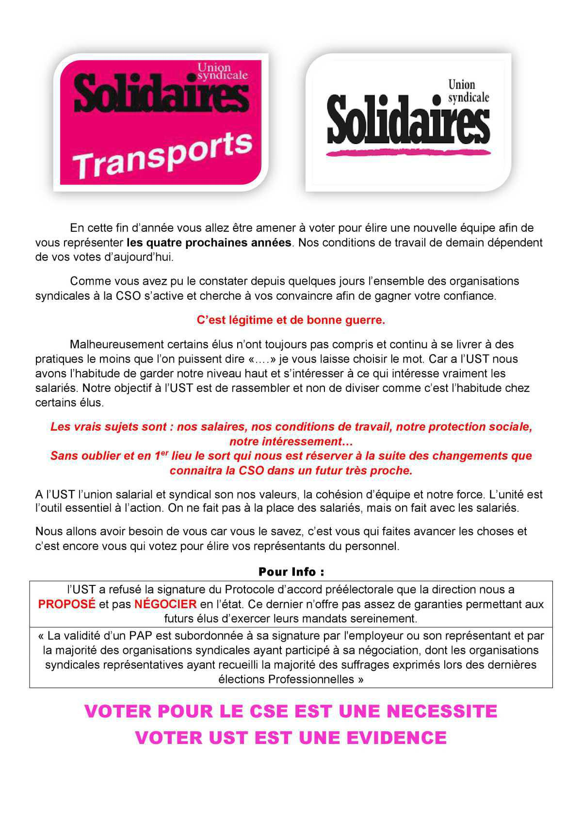 TRACT élection CSO