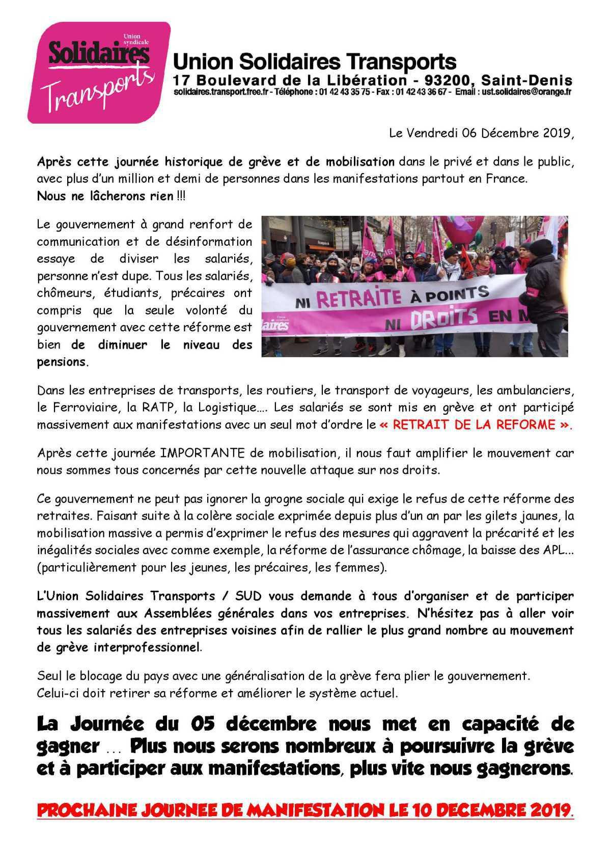 Tract suite à la mobilisation 5 DECEMBRE 2019