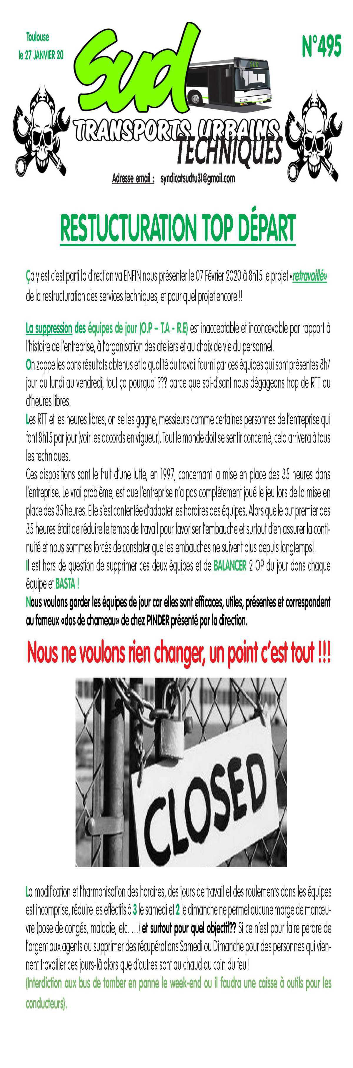 TRACT TISSEO 495 RESTRUCTURATION TOP DÉPART