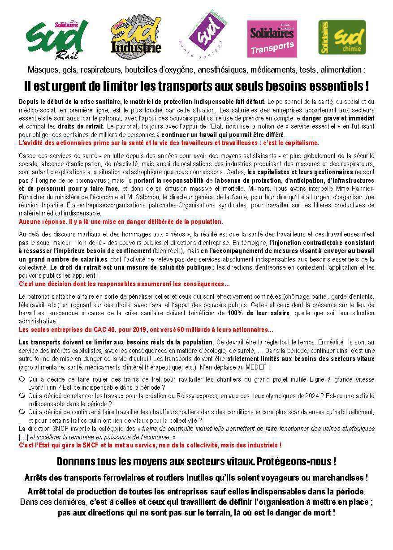 Tract Commun UST, SUD-Rail, SUD Chimie, SUD industrie, SUD Santé