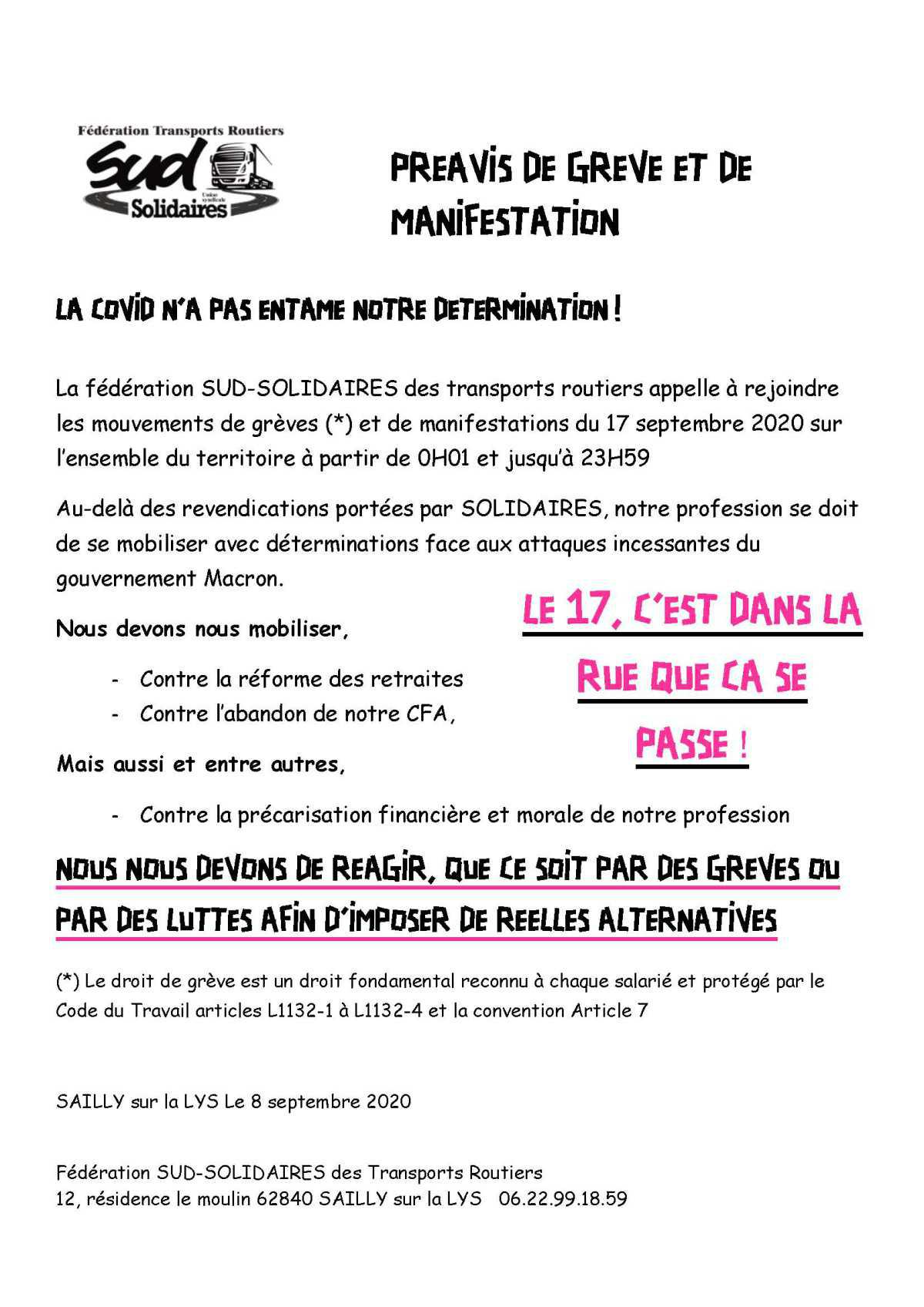 Appel à la grève et manifestation 17 septembre FD SUD Transports Routiers