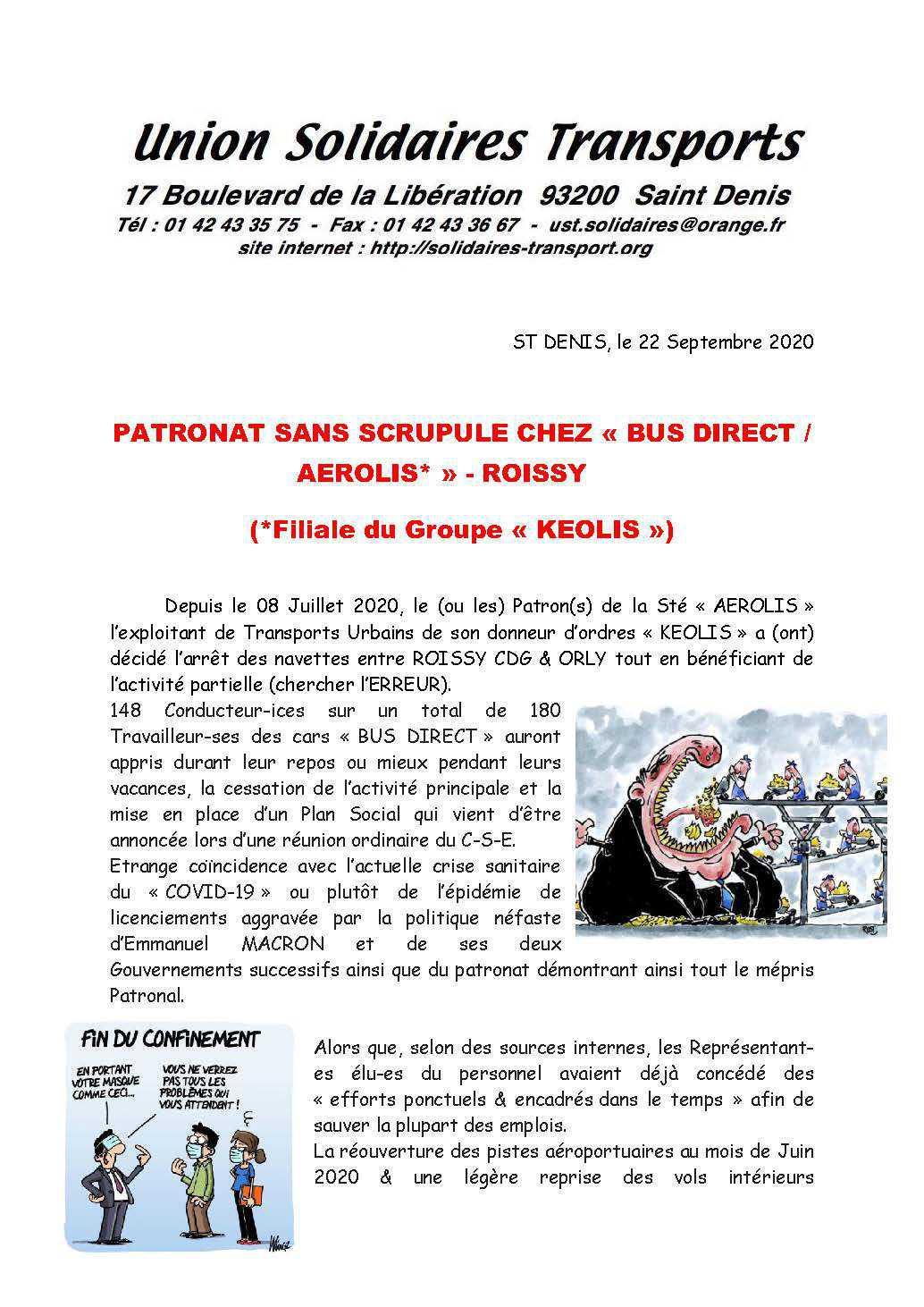 Tract U-S-T PATRONAT SANS SCRUPULE chez BUS DIRECTS CDG-ORLY KEOLIS AEROLIS