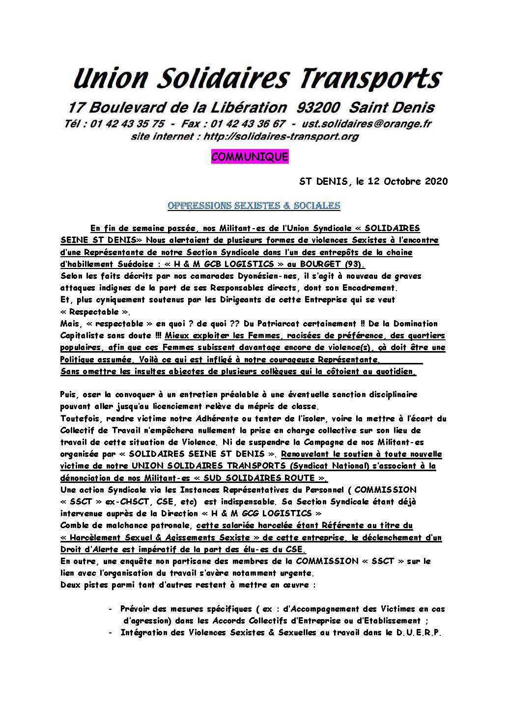 Communiqué UST: OPPRESSIONS SEXISTES & SOCIALES H&M