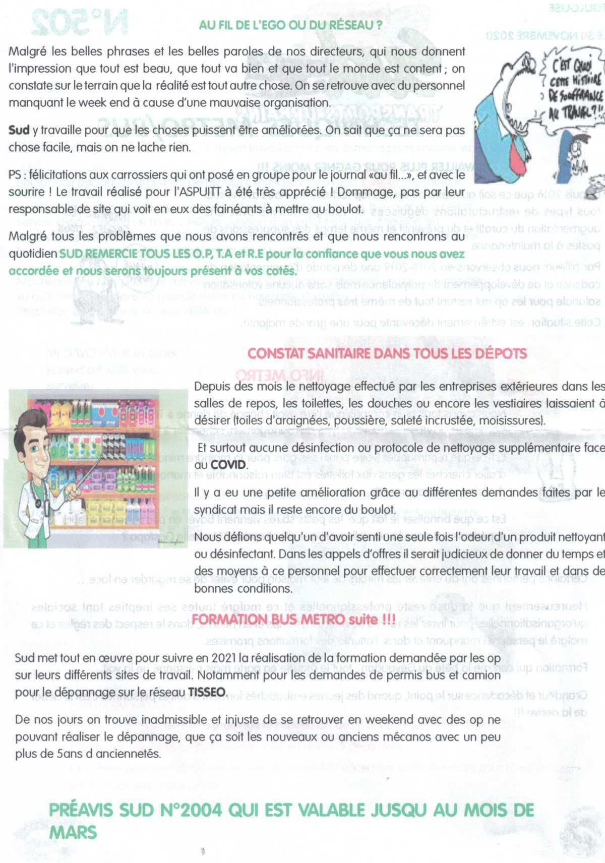 TISSEO tract spécial service maintenance metro et bus