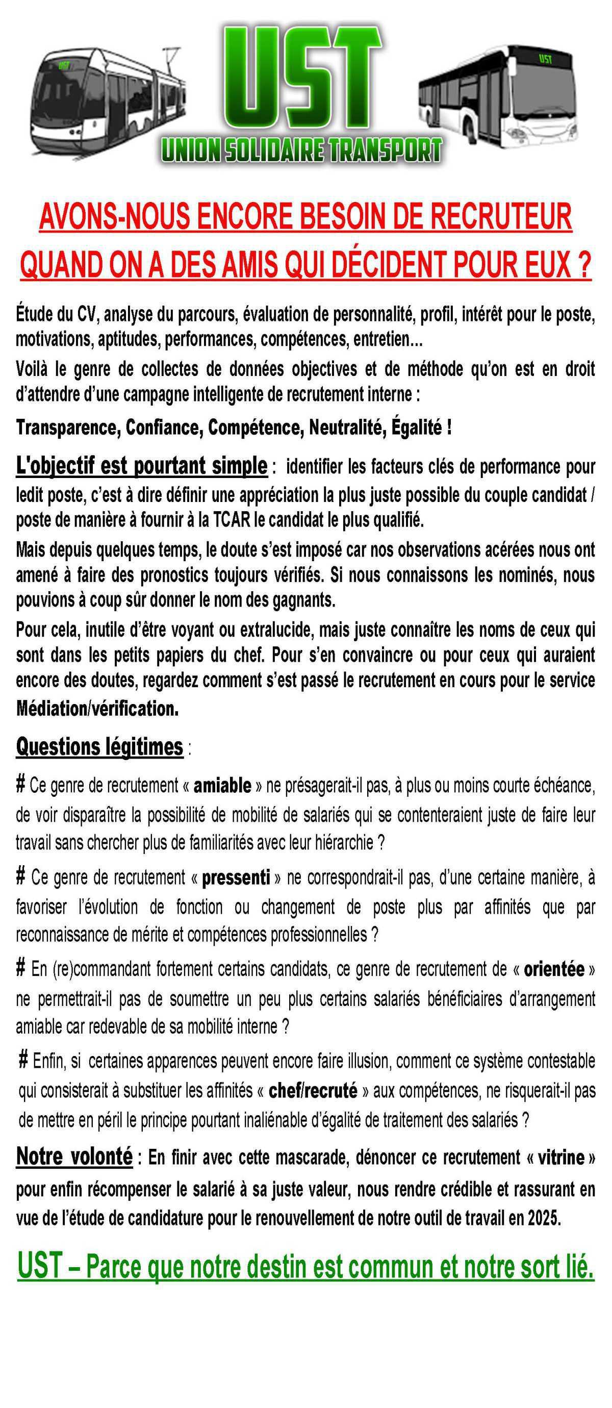 TRACT UST TCAR :AVONS-NOUS ENCORE BESOIN DE RECRUTEUR