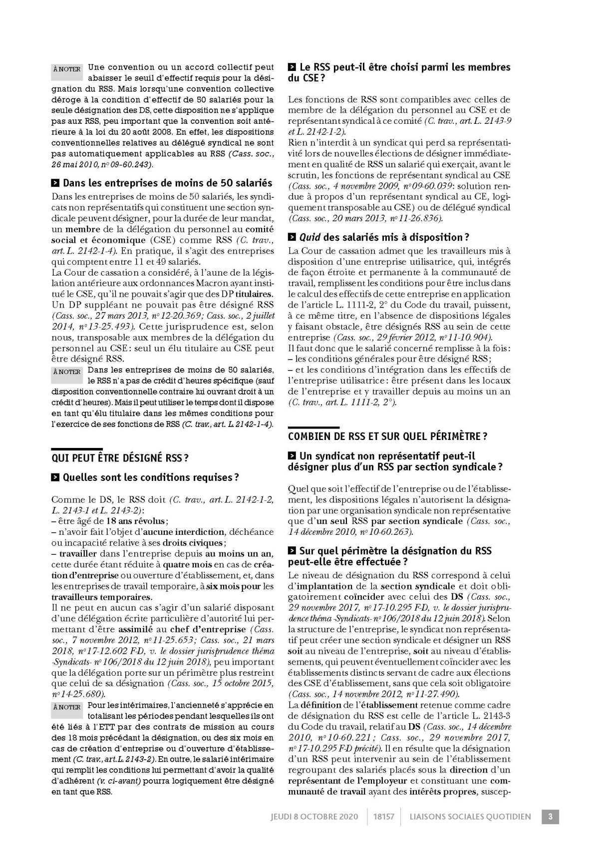 Dossier LSQ concernant le RSS
