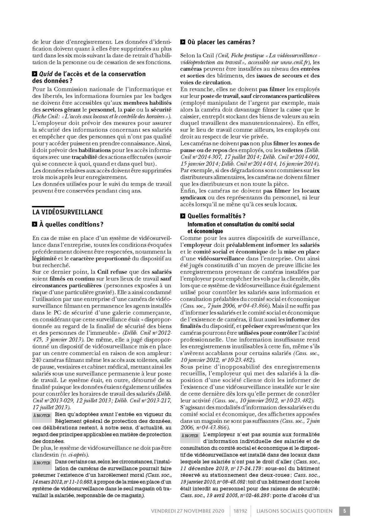 LSQ La surveillance de l 'activité des salariés (droits et obligations de l'employeur)