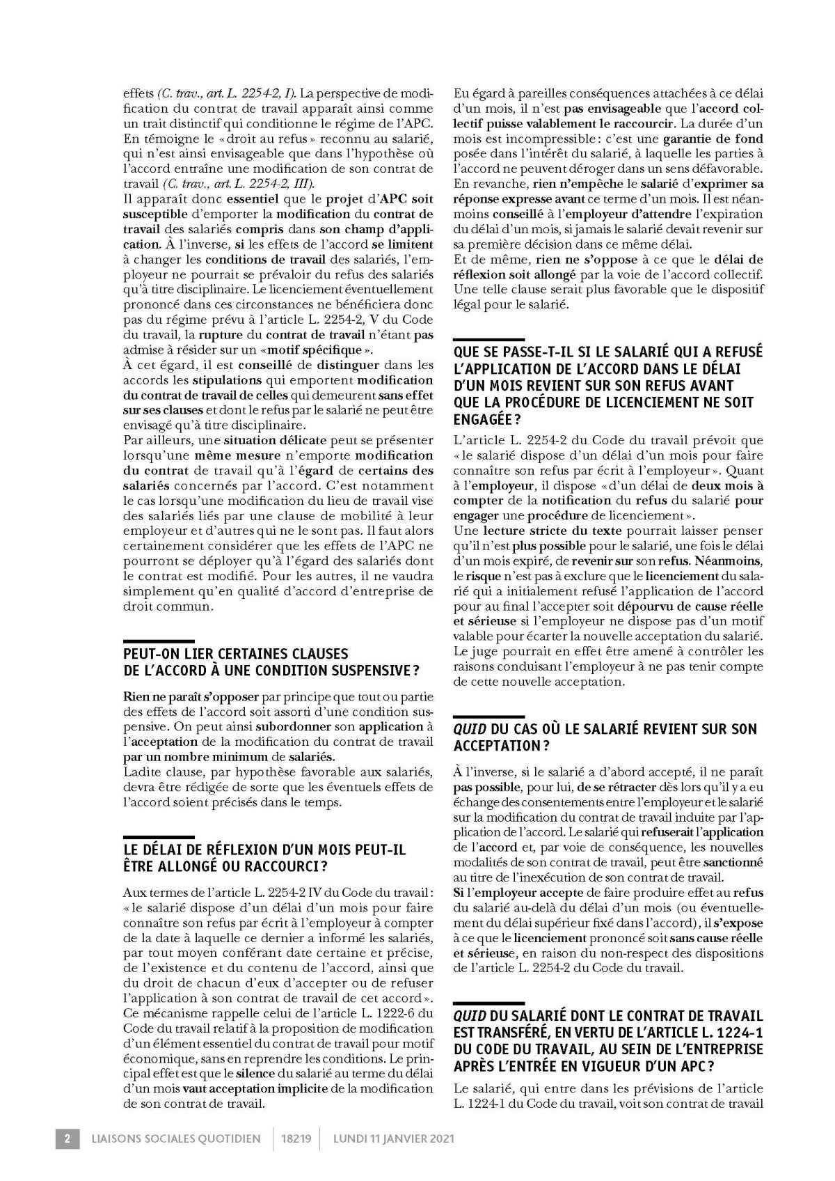 LSQ Questions-réponses sur l'accord de performance collective