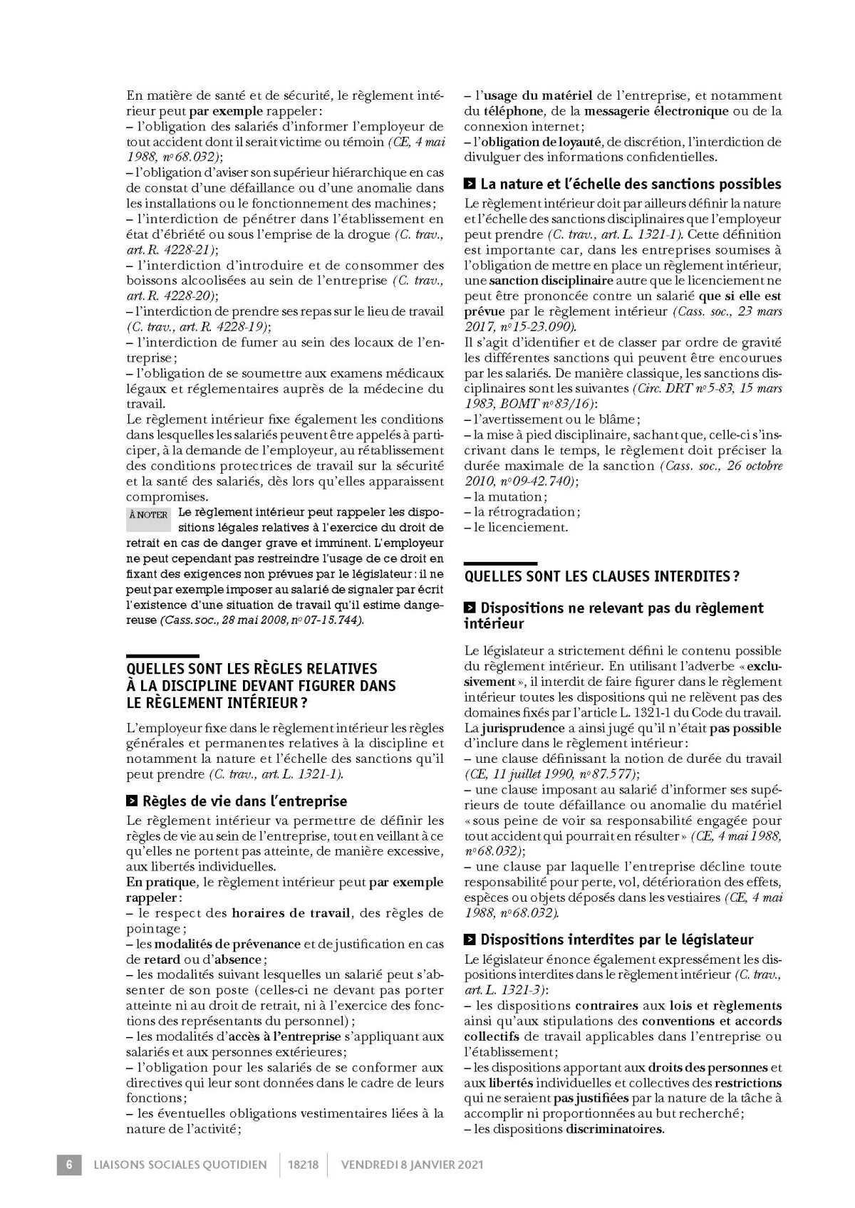 LSQ Règlement Interieur entreprise