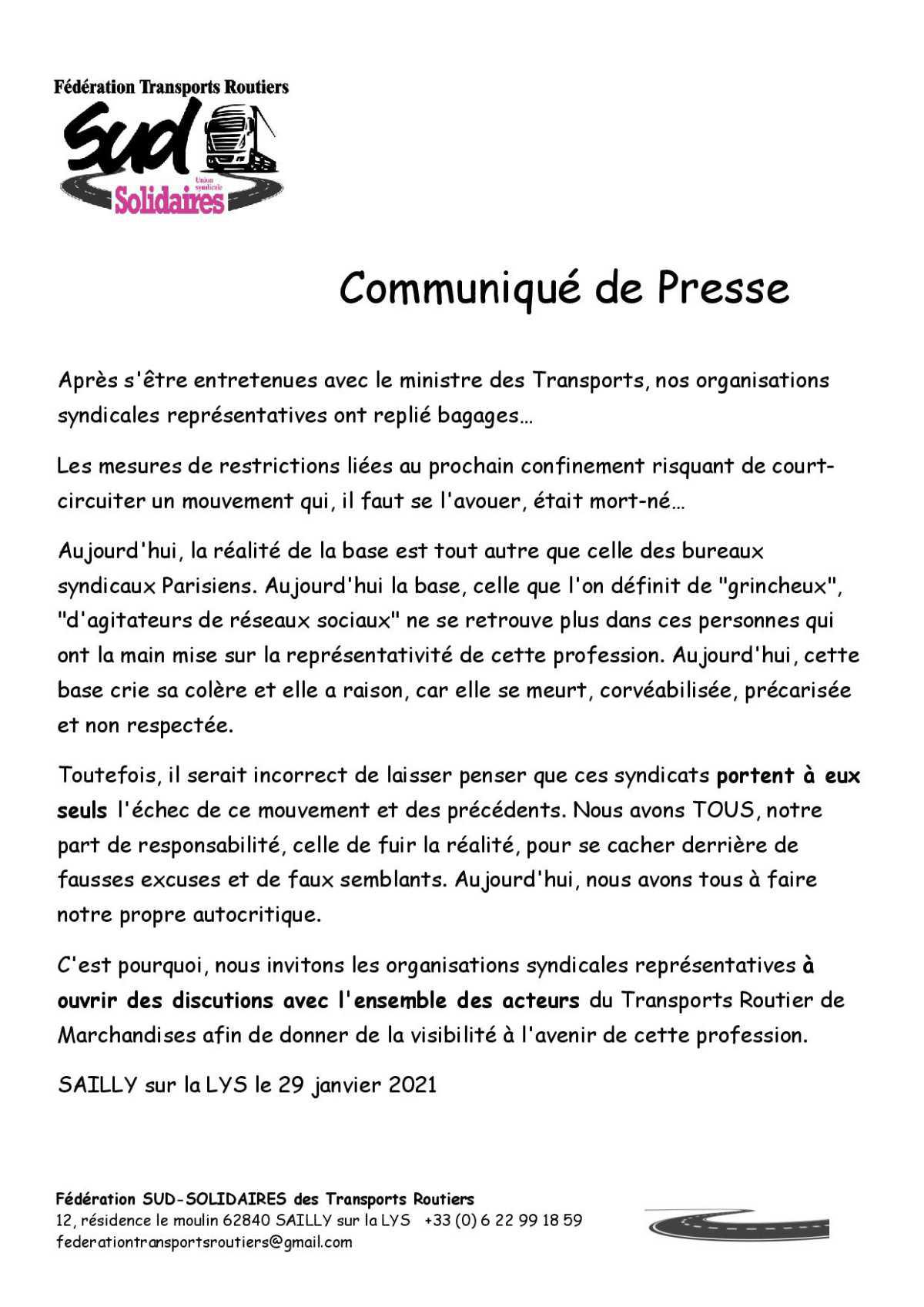 Com presse Fédération SUD transports Routiers 29 01 2020