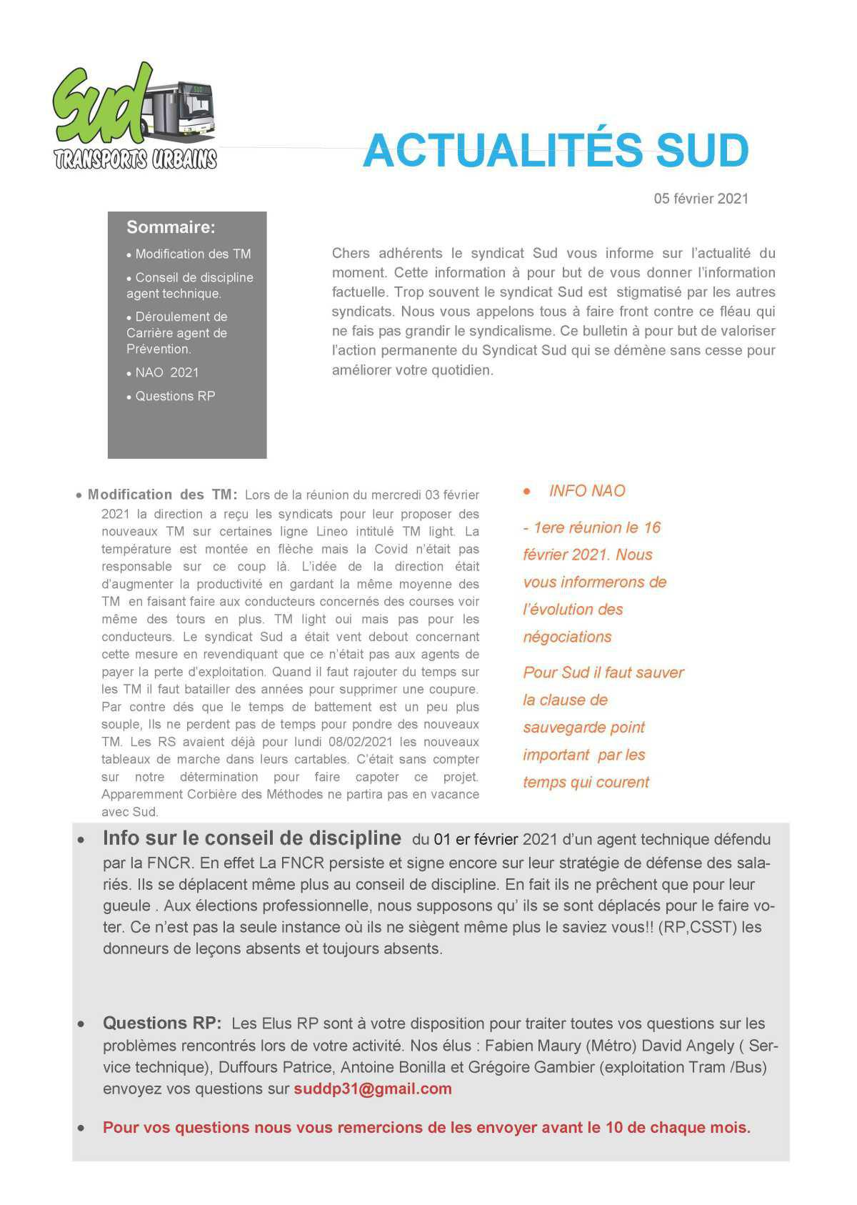 Tract SUD TISSEO ACTUALITES