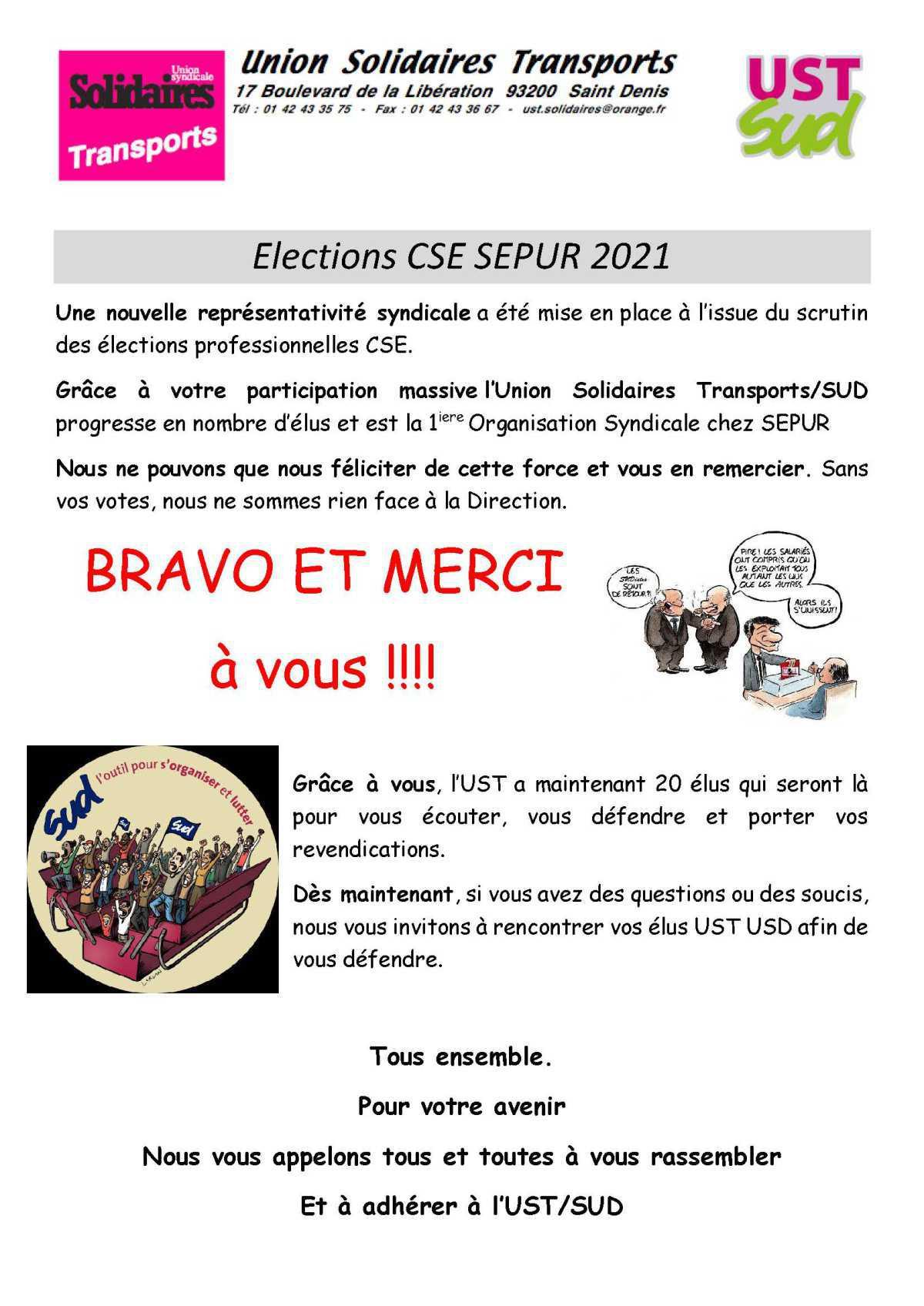 Tract Remerciements élections SEPUR 2021
