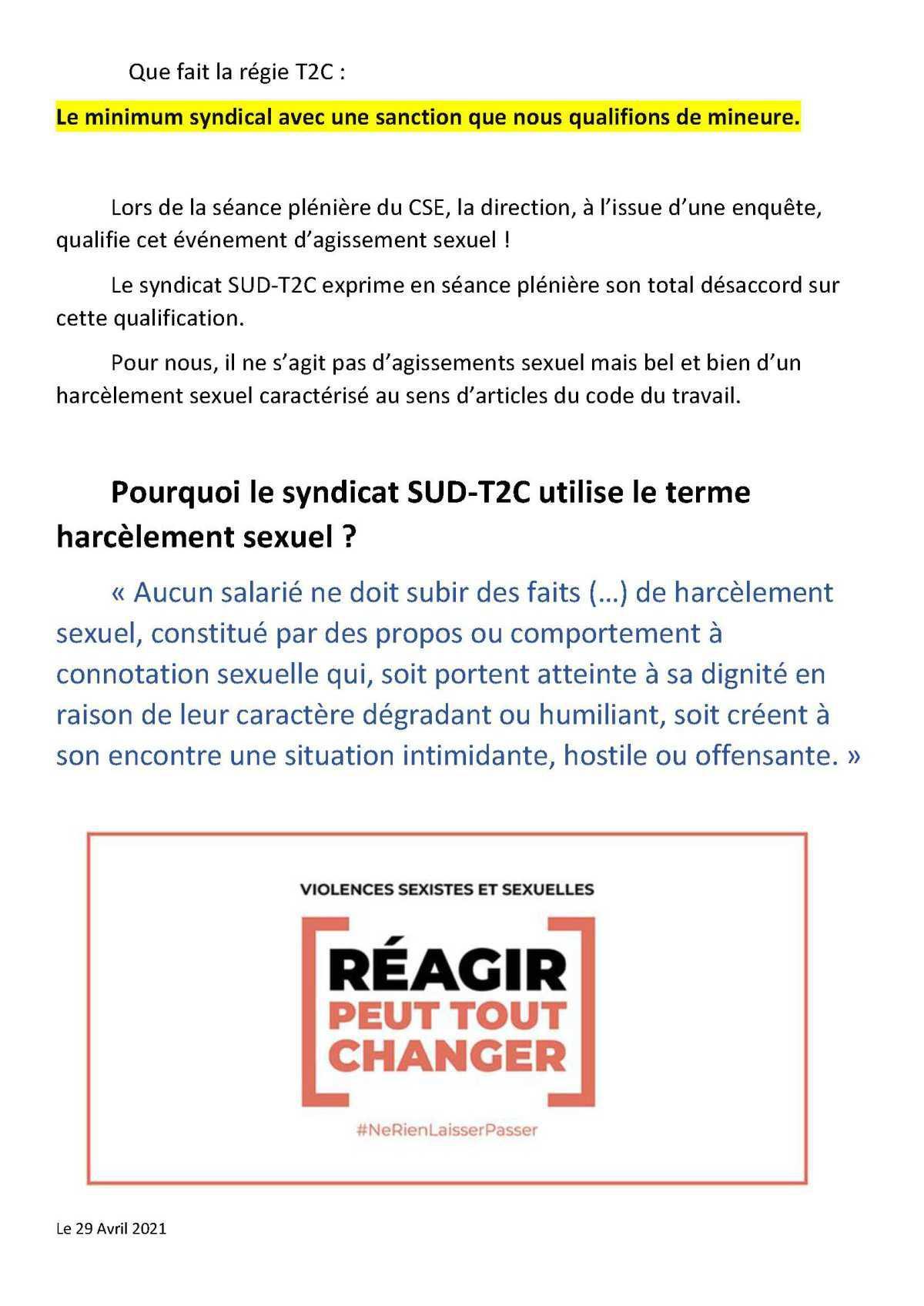 tract SUD T2C Le Harcelement sexuel est un délit pas une blague avril 2021
