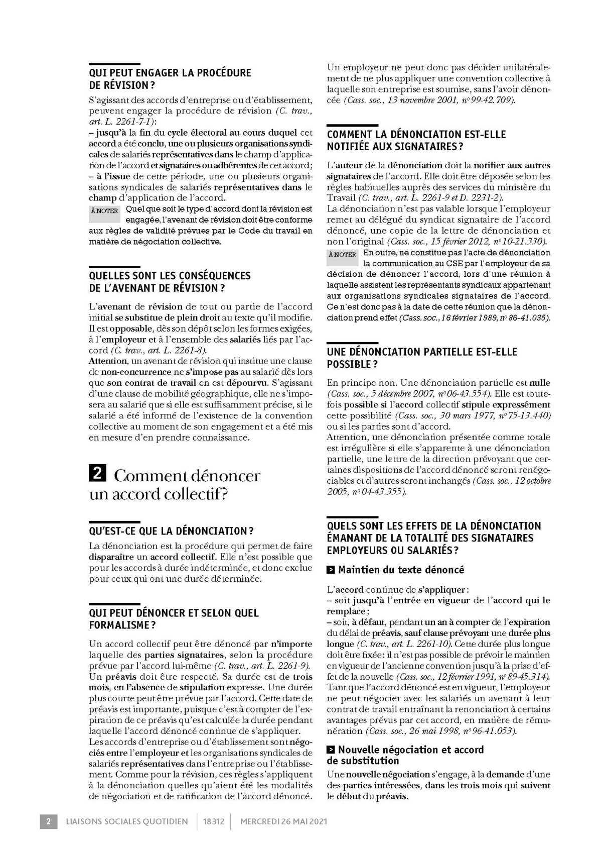 LSQ Comment réviser ou dénoncer accords collectifs