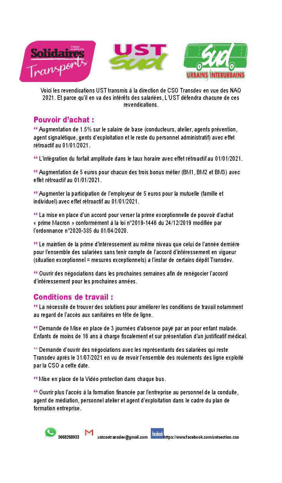 Tract NAO 2021 CSO Transdev revendications