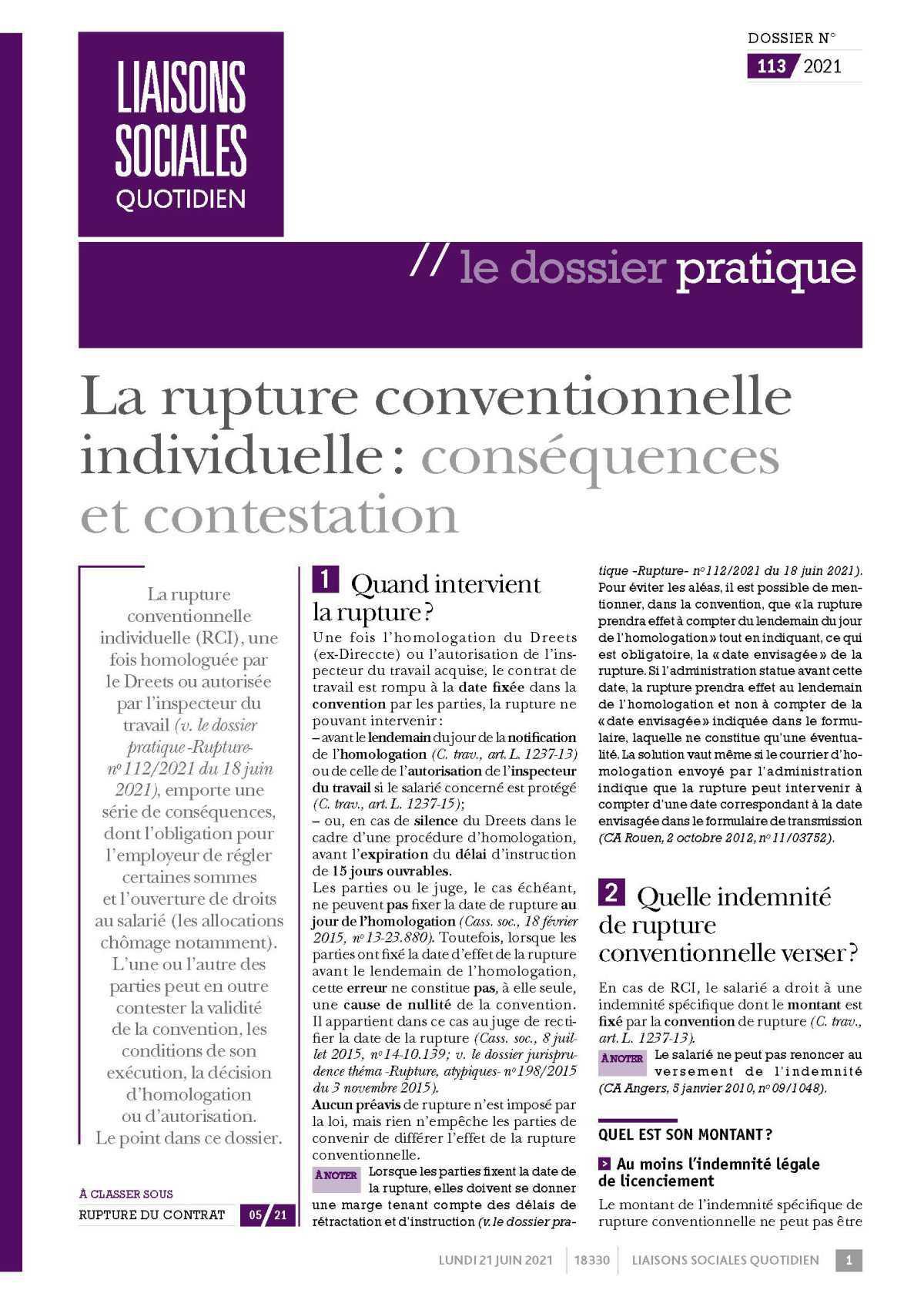 La rupture conventionnelle individuelle conséquences et contestation