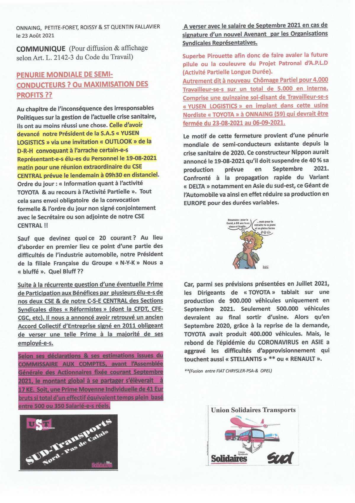 Communiqué UNION SYNDICALE TRANSPORTS du 23-08-2021 Pénurie mondiale de semi-conducteurs ou Maximisation des Profits