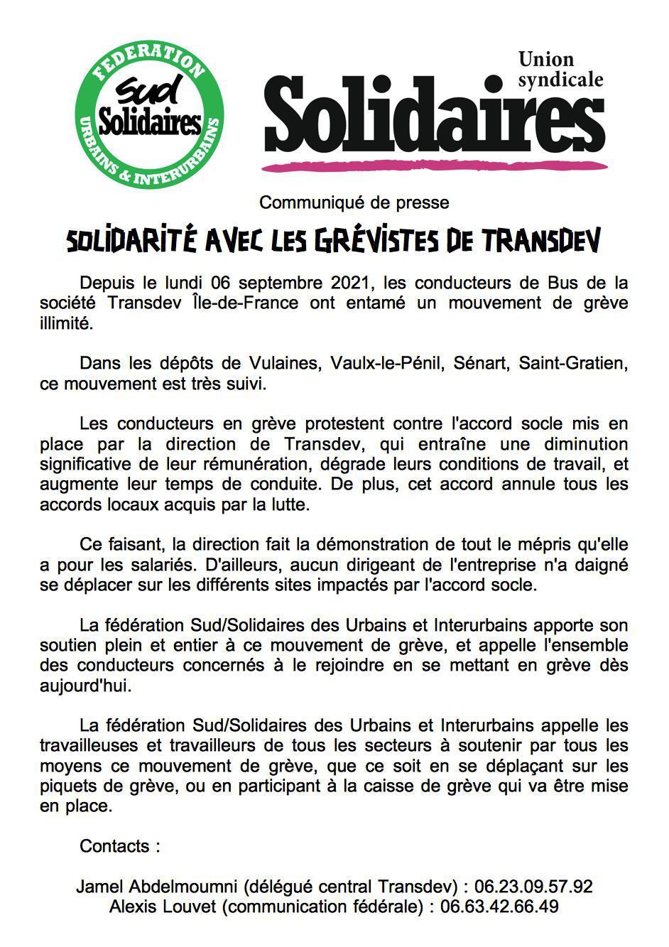 Com Presse grève Transdev IDF Contre l'ouverture à la concurrence