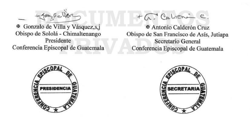Comunicado de la Conferencia Episcopal de Guatemala