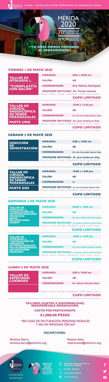 Talleres Congreso 70 SMORLCCC 2020
