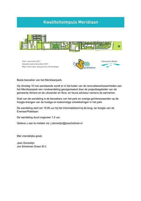 Uitnodiging Wandeling Meridiaanpark