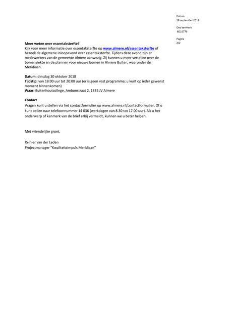 Brief Gemeente Almere Essentaksterfte deel 2 18 september 2018