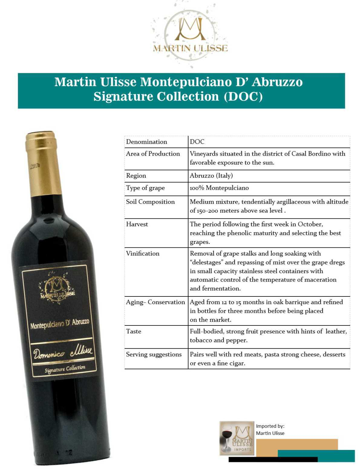 Martin Ulisse Montepulciano d'Abruzzo Signature Collection (DOC)