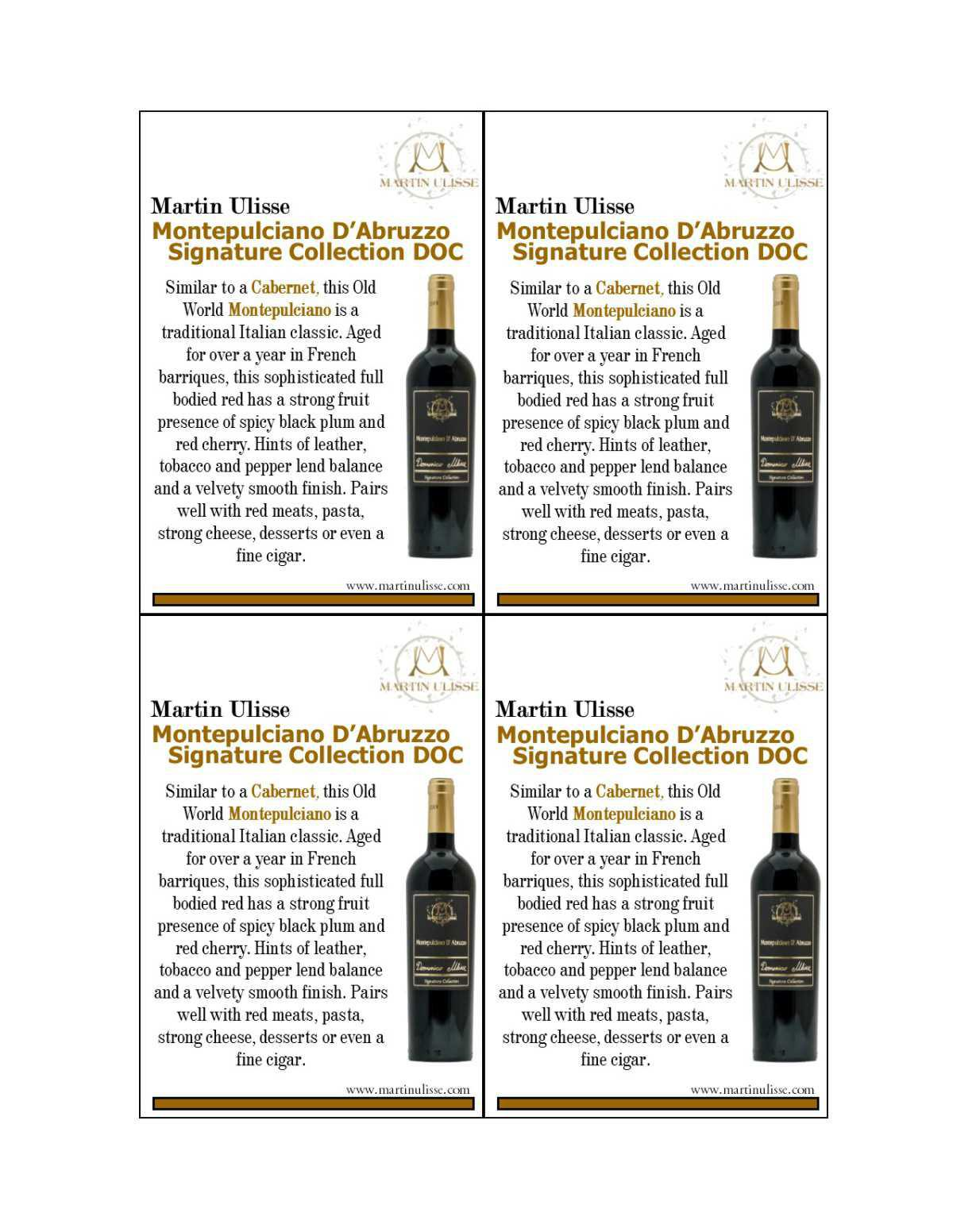 Shelf Talker Martin Ulisse Montepulciano Signature Collection