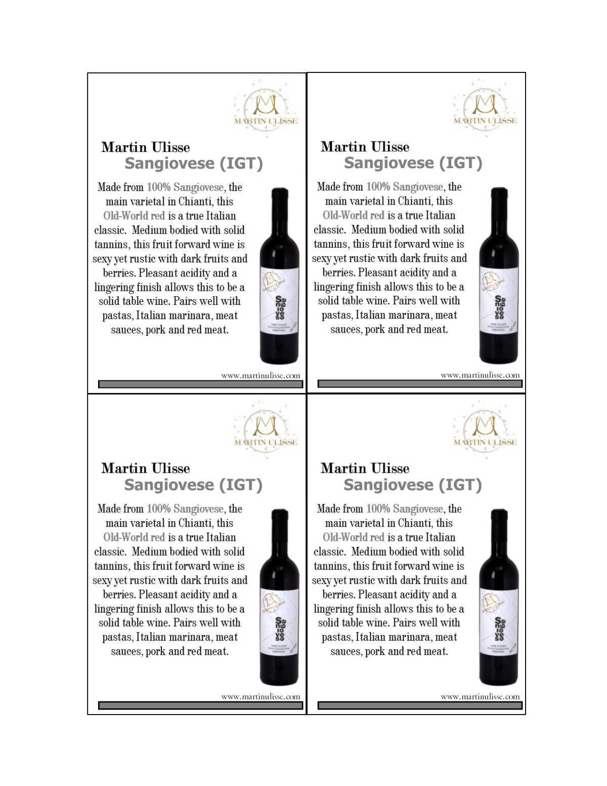 Shelf Talker Martin UIisse Sangiovese