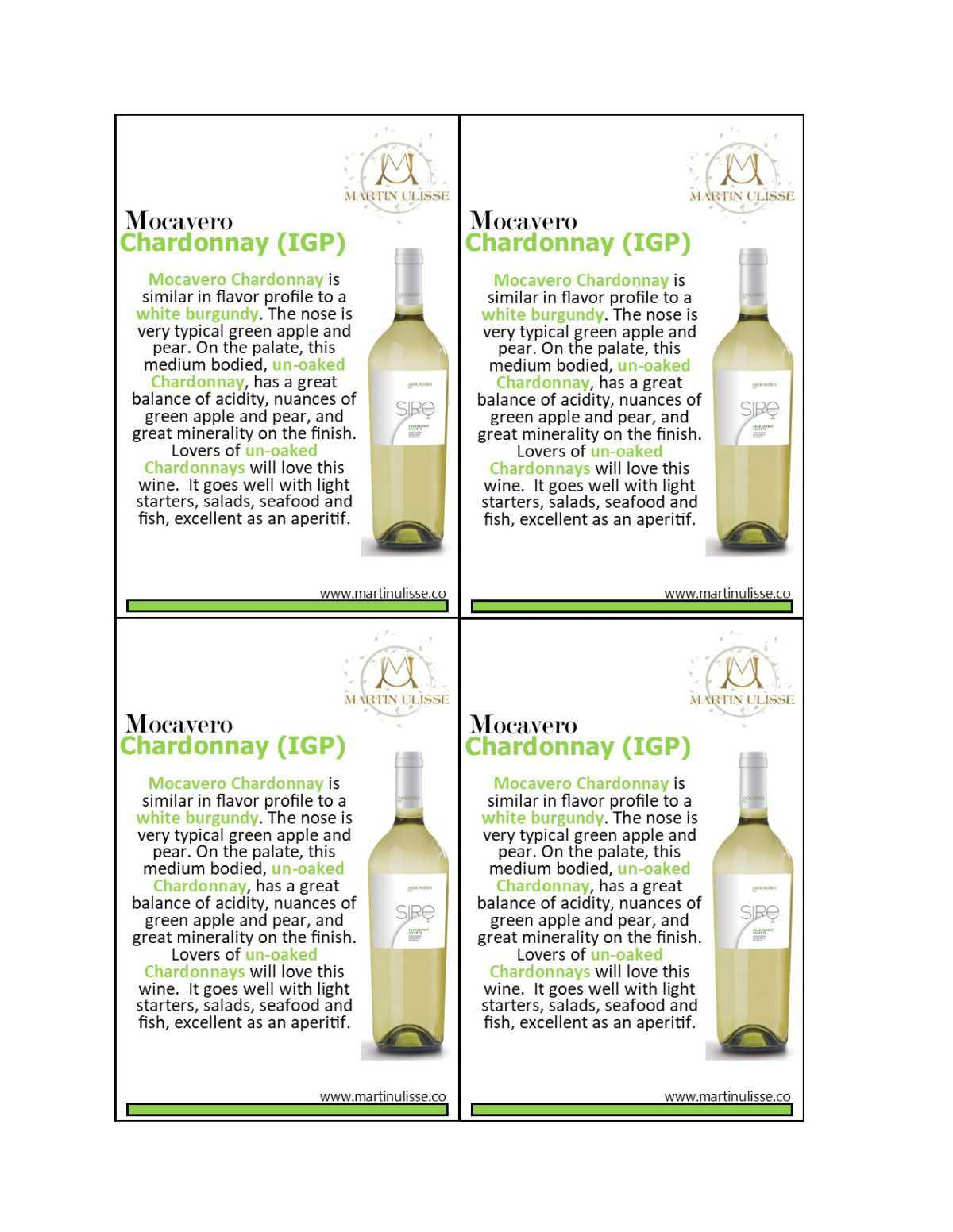 Shelf Talker Mocavero Chardonnay